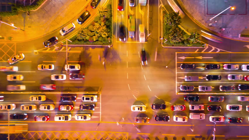 night time illumination shenzhen downtown traffic street crossroad top view 4k timelapse china Royalty-Free Stock Footage #33198388