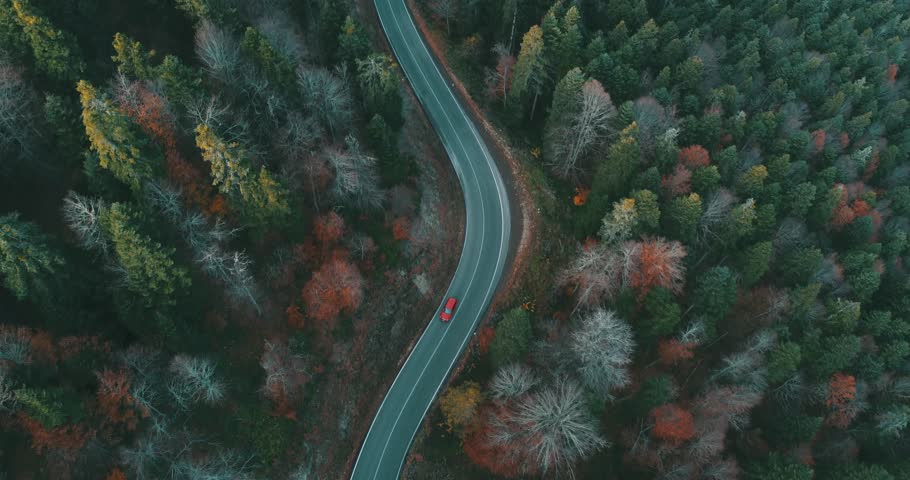 Aerial Shot Of Mountain Forest Road, Beautiful Fall Color In The Forest 4K