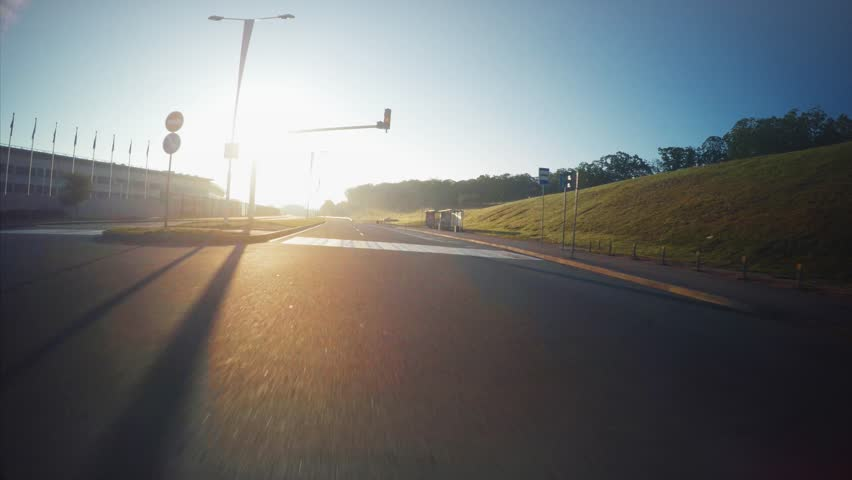 View from the car: driving along the road in Vladivostok, Russia. Sunny morning | Shutterstock HD Video #33201634
