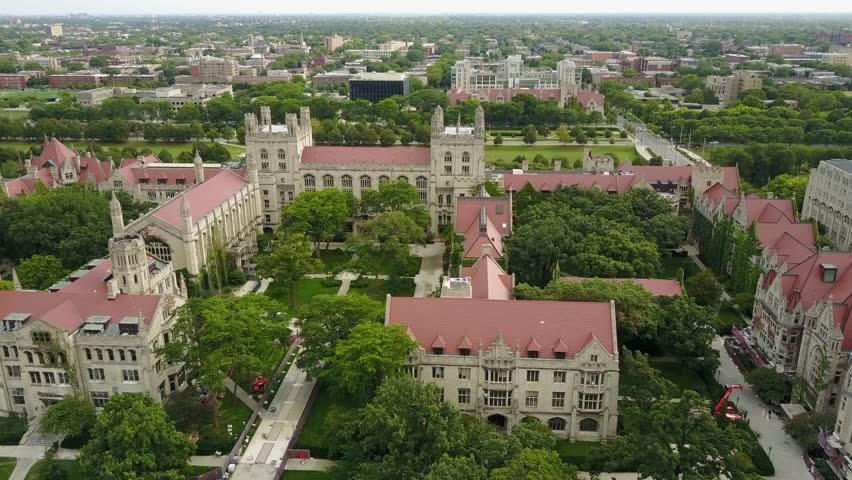 08-08-2017 The Chicago University has a beautiful aerial view of the summer on a sunny day