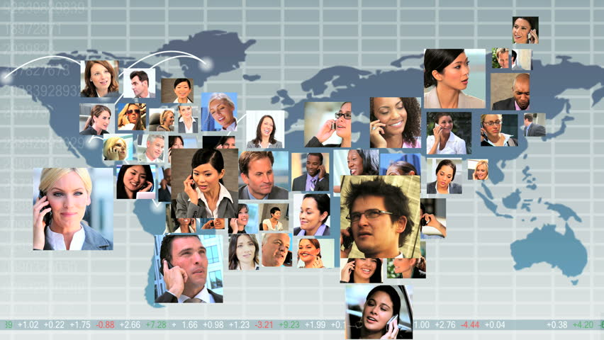 Montage CG global communication graphics with faces young multi ethnic business people making the shape of map USA | Shutterstock HD Video #3323840