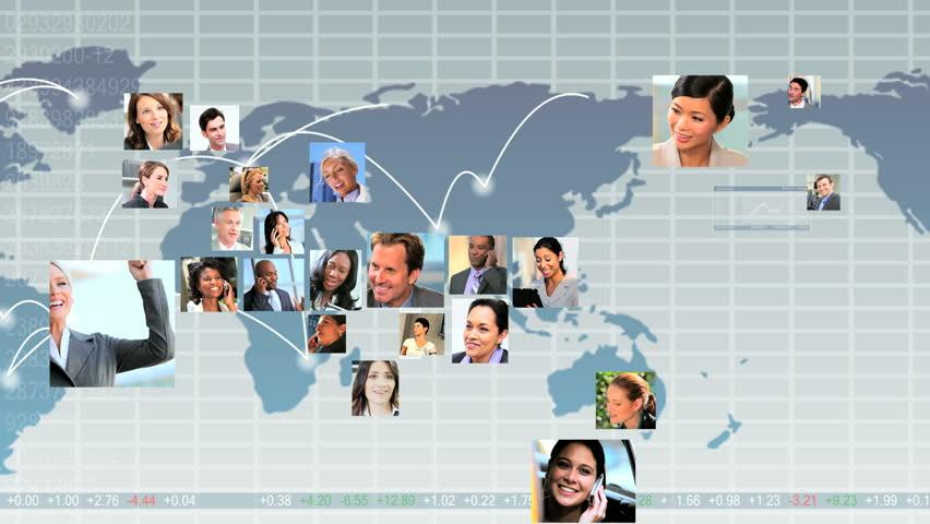 Montage CG global telecommunication graphics with USA shape mosaic young multi ethnic business people using modern wireless technology | Shutterstock HD Video #3323903