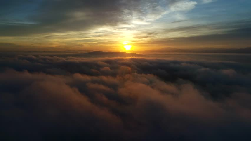 Aerial view of Sunrise on foggy day above the fog #33248368