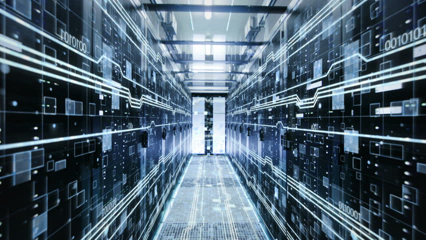 The Concept of: Digitalization of Information Flow Moving Through Rack Servers in Data Center. Shot on RED EPIC-W 8K Helium Cinema Camera.