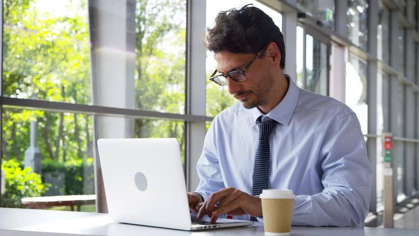 Portrait Of Businessman Working On Laptop In Modern Office | Shutterstock HD Video #33252058