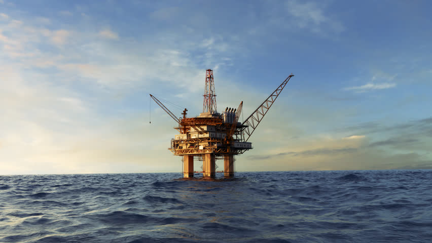 03014 Animation of an offshore oil platform. Fly-through shot.