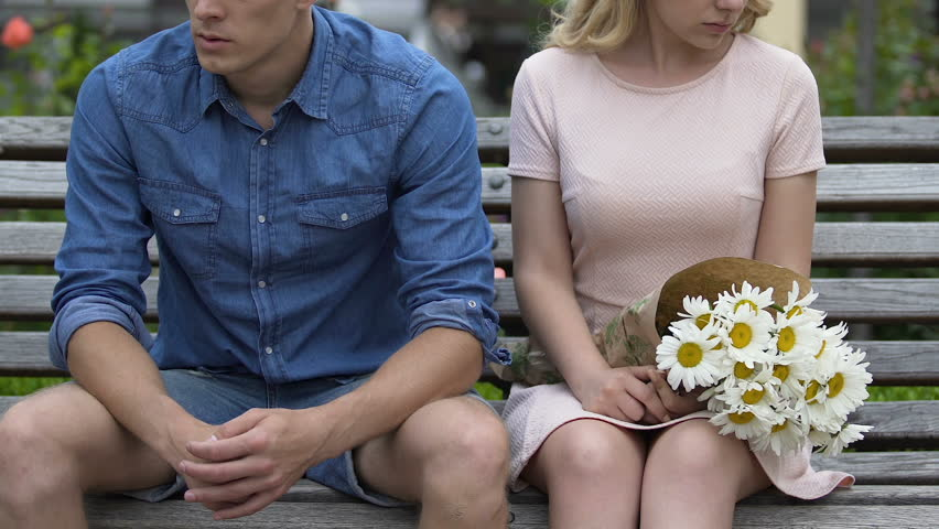 Conflict between stressed man and woman, girl throwing bouquet and going away