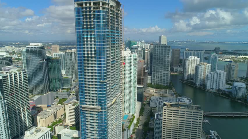 BRICKELL, FL, USA - NOVEMBER 20, 2017: Aerial Brickell Panorama Tower near completion | Shutterstock HD Video #33261487