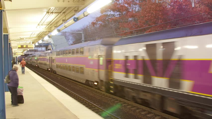 Time-lapse of Boston T Train Amtrak Transportation MBTA Commuter Rail