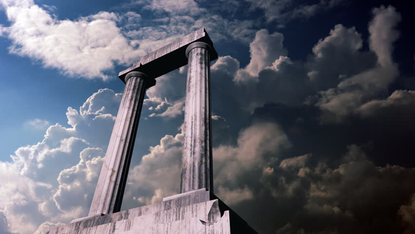Animation of a piece of an ancient greek temple with clouds in the background