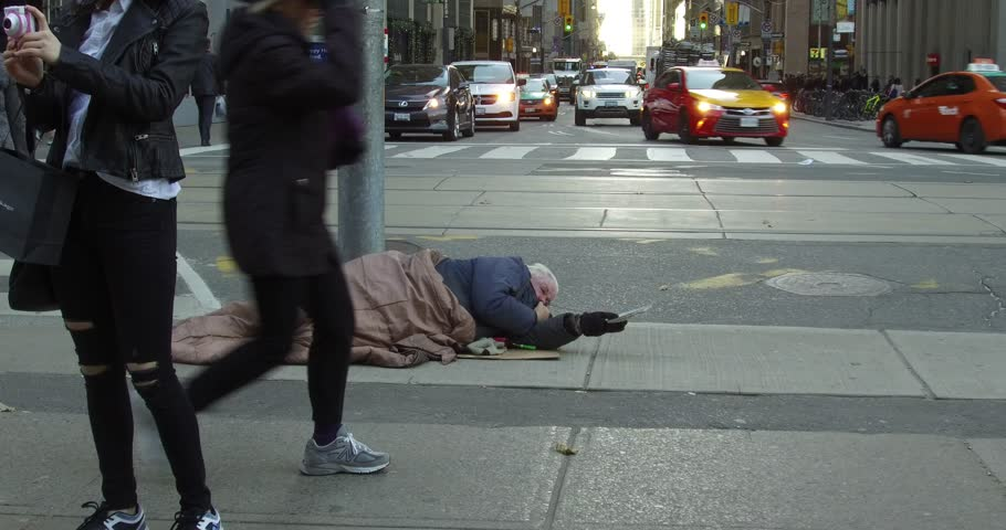 Toronto, Ontario, Canada November 2017 Homeless person on cold winter streets