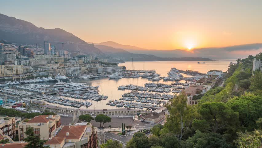 Monaco Ville city skyline night to day sunrise timelapse, Monte Carlo, Monaco 4K Time lapse