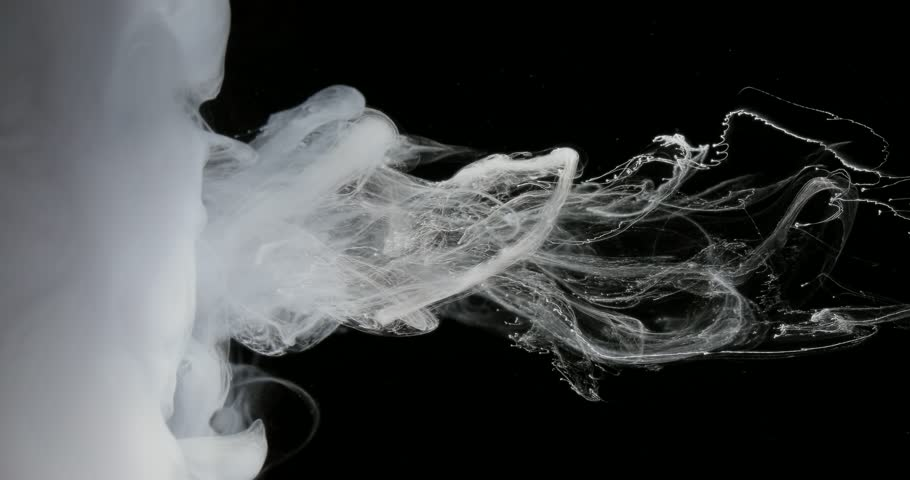 White drop, wave and cloud of ink creating dynamic shape in water. Effect of color in liquid. Studio shot on black background. Abstract arts, paint and concepts | Shutterstock HD Video #33307987