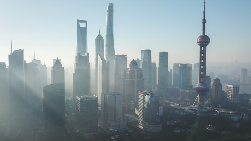 Aerial hyperlapse video of Shanghai in the morning
