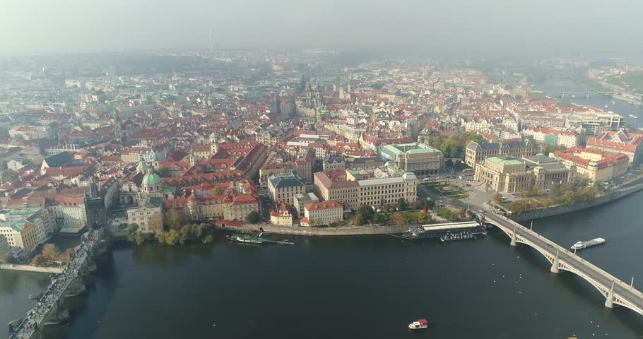Panoramic view from above on the Prague Castle, top view of Charles Bridge, Vltava River | Shutterstock HD Video #33341287