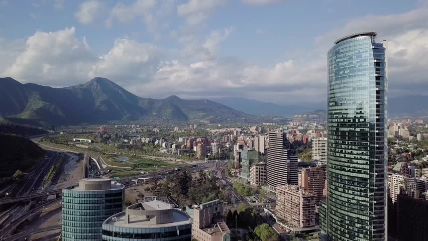 "Aerial view of ""Manquehue hill"" and ""Vitacura bicentennial park"", on a clear day in Santiago of Chile 