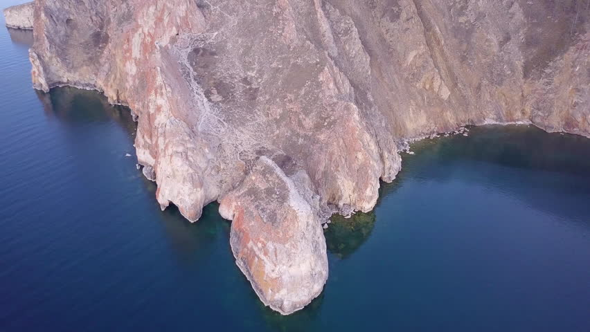 ProRes. Baikal lake shore and rocks from aerial view. Landscape. #33364408