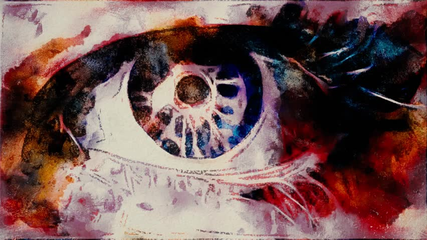 Hand drawn stop motion opening and closing eye painting animation seamless loop close up - new quality people body artistic cartoon dynamic colorful joyful video footage
