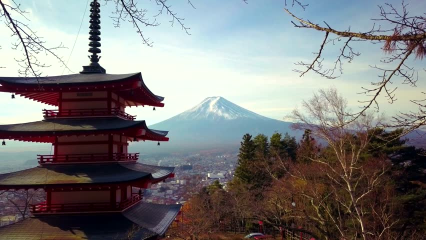 4K video of Mt. Fuji, view from behind Chureito Pagoda, Japan. | Shutterstock HD Video #33385177