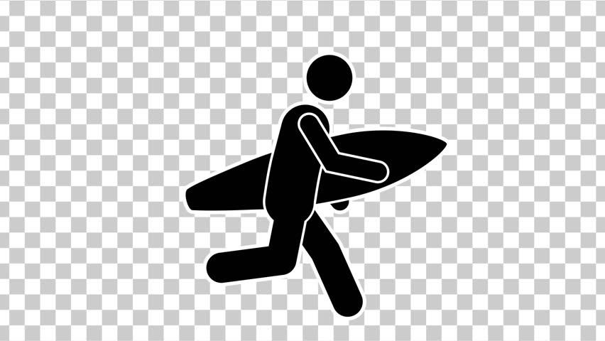 Black Stick Figure Running with Surfboard. Alpha Matte