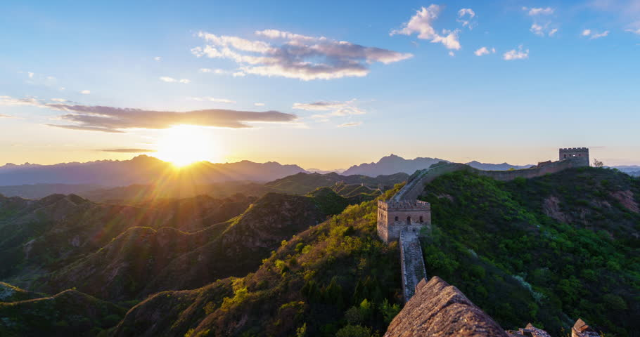 Great Wall of China sunset. Timelapse