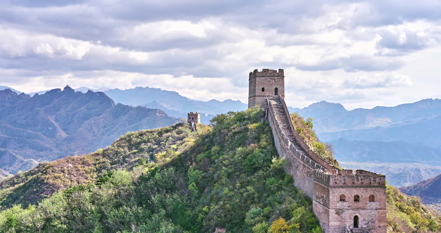 China Great Wall autumn. Timelapse