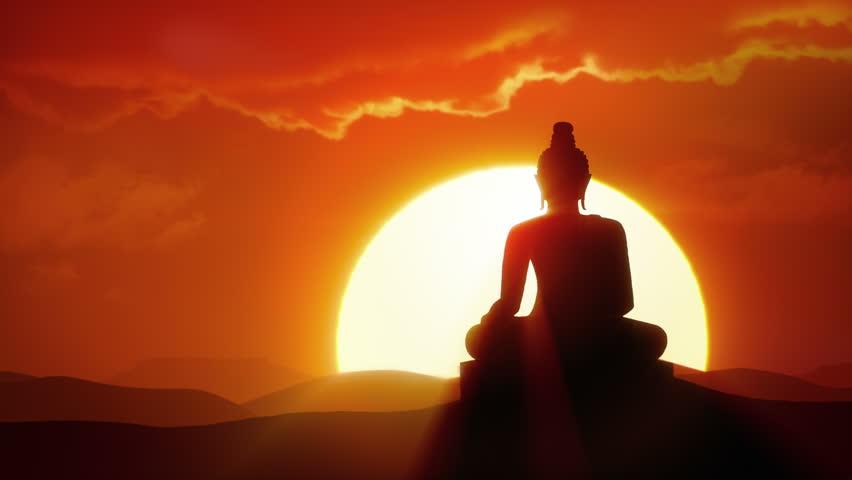 Enlightenment - Sun rises over silhouette of Buddha statue in desert #33410182
