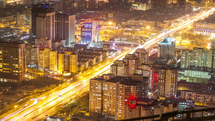 Aerial view of Beijing city night scene time lapse | Shutterstock HD Video #3341273