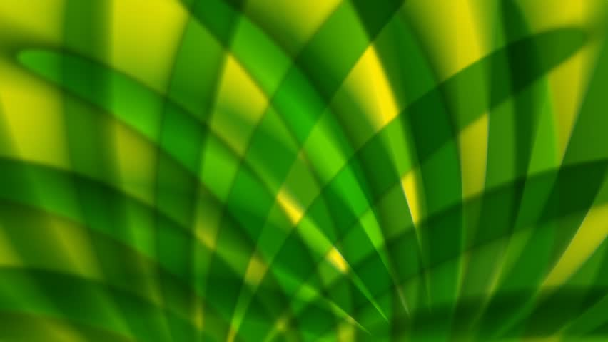 Green and yellow abstract seamless loop resembling waving palm fronds.