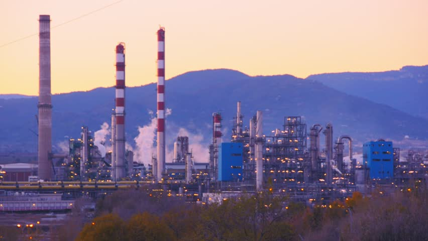 Factory Smoke stack. Petrochemical plant, Oil and gas refinery at twilight | Shutterstock HD Video #33419563
