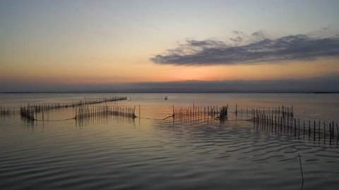The sunset under lake on the National Albufera park, Valencia, Spain.