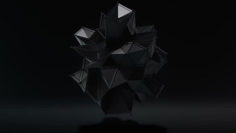 Futuristic dark style hi-tech polygon matte black form seamless motion background. High quality 3D rendered animation with depth of field, motion blur and supersampling.