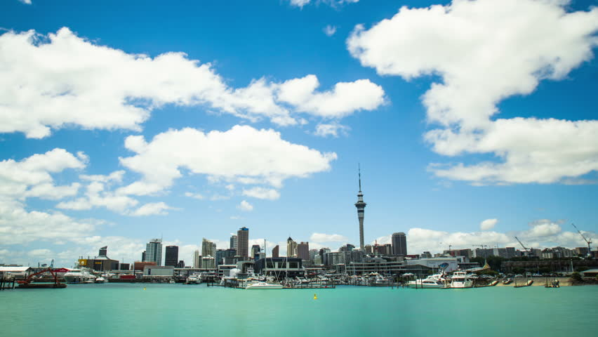 Time Lapse - Beautiful Cloudscape Moving Over Bay Harbor, Auckland, New Zealand HD