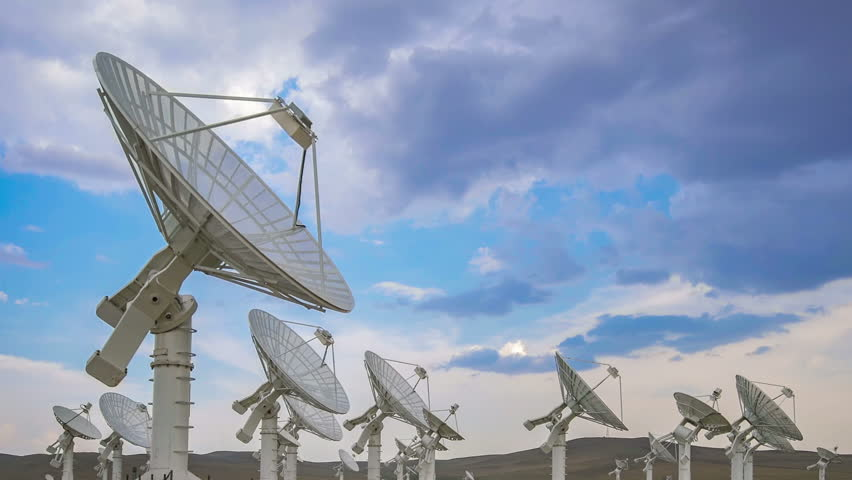 Panning shot of Large Satelite Dishes Telescope Array,China - Space Science | Shutterstock HD Video #33437776