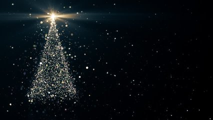 Merry Christmas greeting video card. Christmas tree with shining light, falling snowflakes and stars, 4K video background