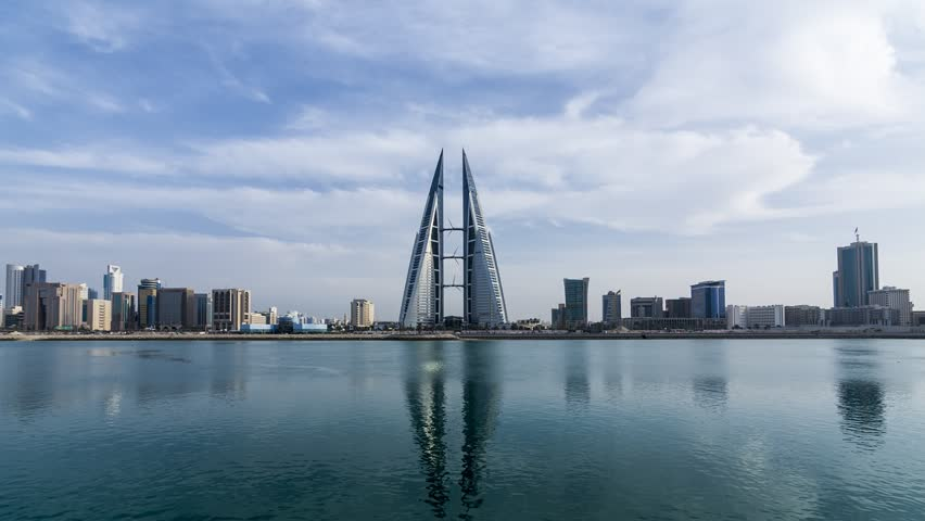 MANAMA, BAHRAIN- January 06: Manama - Time lapse of Bahrain World Trade Center and other high rise buildings in Manama City on January 06, 2017, Manama, Bahrain