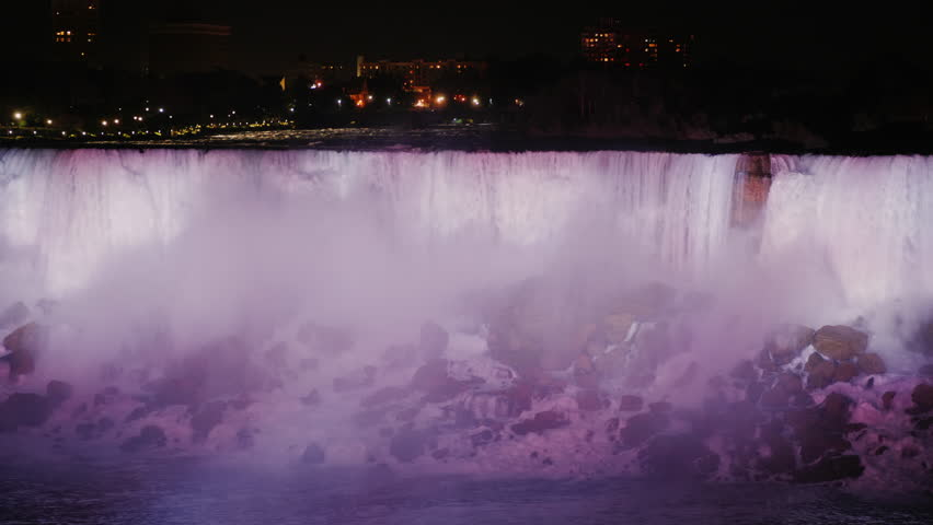 Niagara Falls at night. View from the Canadian coast
