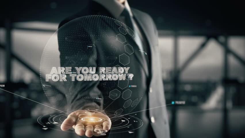 Are You Ready For Tomorrow with hologram businessman concept Royalty-Free Stock Footage #33464278