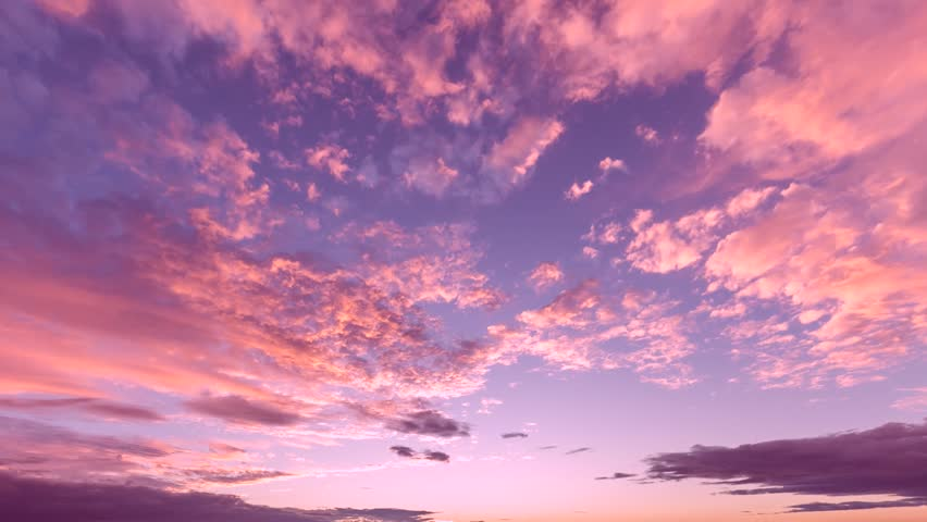 EVENING CLOUDS FAST MOVING AWAY, ROLLING DARK SUNSET SKY, Red purple orange blue pink cloudscape time lapse background. FULL HD. #33468100