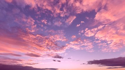 EVENING CLOUDS FAST MOVING AWAY, ROLLING DARK SUNSET SKY, Red purple orange blue pink cloudscape time lapse background. FULL HD.
