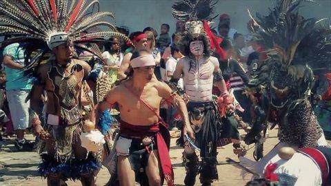 MEXICO, IXCATEOPAN - CIRCA FEBRUARY 2012: Mexican celebration of aztecs emperor Cuhauhtemoch under the sun