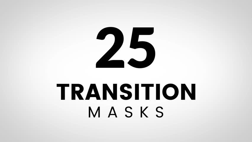 25 Transition masks in 4K size. Animated simple shape masks. Ultimate set of transitions for business presentation or product promo slides.