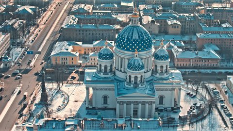 View of domes of the Trinity Izmailovsky Cathedral in Saint Petersburg, Russia