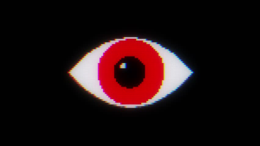 Red pixel eye symbol on glitch lcd led screen display background animation seamless loop ... New quality universal close up vintage dynamic animated colorful joyful cool video footage | Shutterstock HD Video #33477724