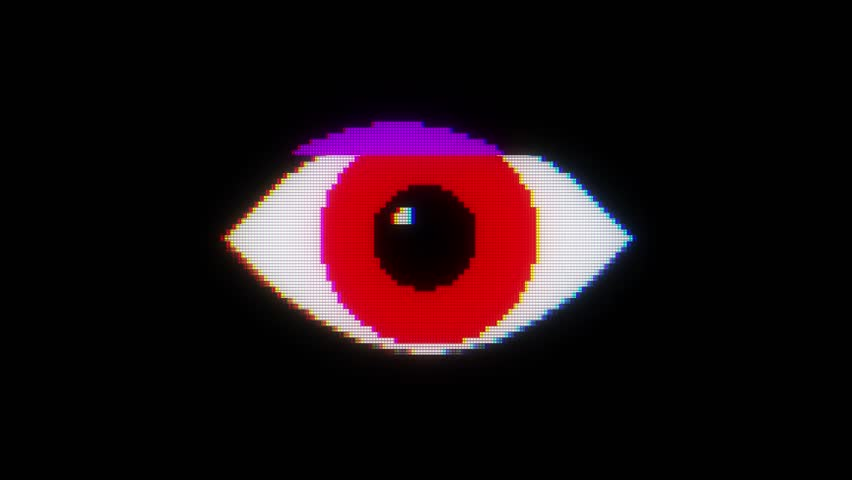 red pixel eye symbol on glitch lcd led screen display background animation seamless loop ... New quality universal close up vintage dynamic animated colorful joyful cool video footage #33477727