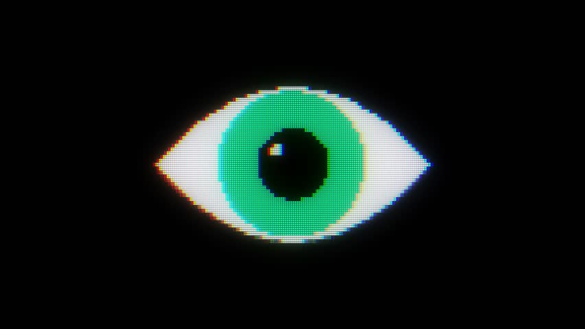 Green pixel eye symbol on glitch lcd led screen display background animation seamless loop ... New quality universal close up vintage dynamic animated colorful joyful cool video footage | Shutterstock HD Video #33477730