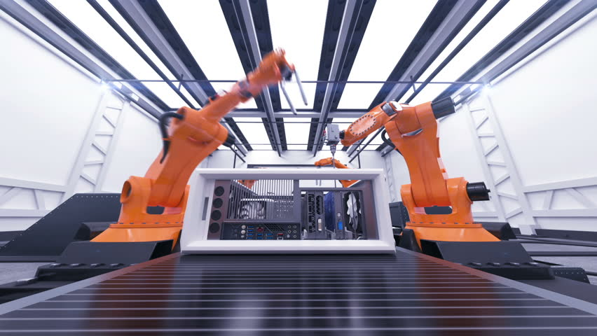 Beautiful Robotic Arms Assembling Computer Cases On Conveyor Belt. Futuristic Advanced Automated Process. 3d Animation. Business, Industrial and Technology Concept. Full HD 1920x1080.