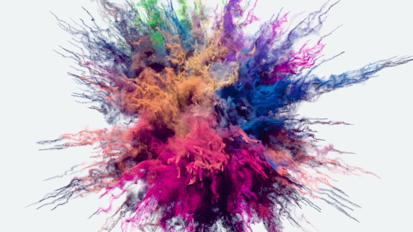 Animation of a colored explosion of a powder. 3D rendering. #33493072