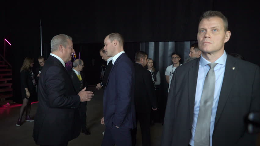 HELSINKI, FINLAND - NOVEMBER 30, 2017: Prince William, Duke of Cambridge, talks with Al Gore Vice-President of the United States, Nobel Peace Prize Laureate at the tech and startup event Slush