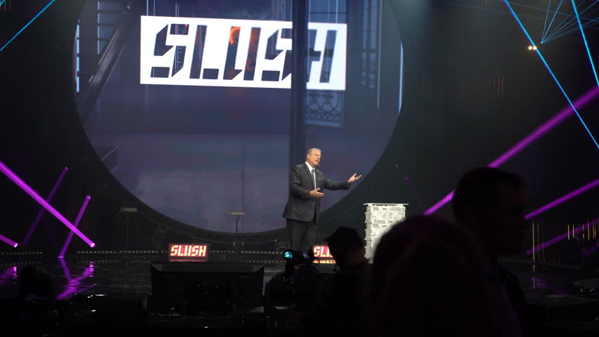 HELSINKI, FINLAND - NOVEMBER 30, 2017: Al Gore Vice-President of the United States, Nobel Peace Prize Laureate speaks at the opening ceremony of the startup and tech festival Slush